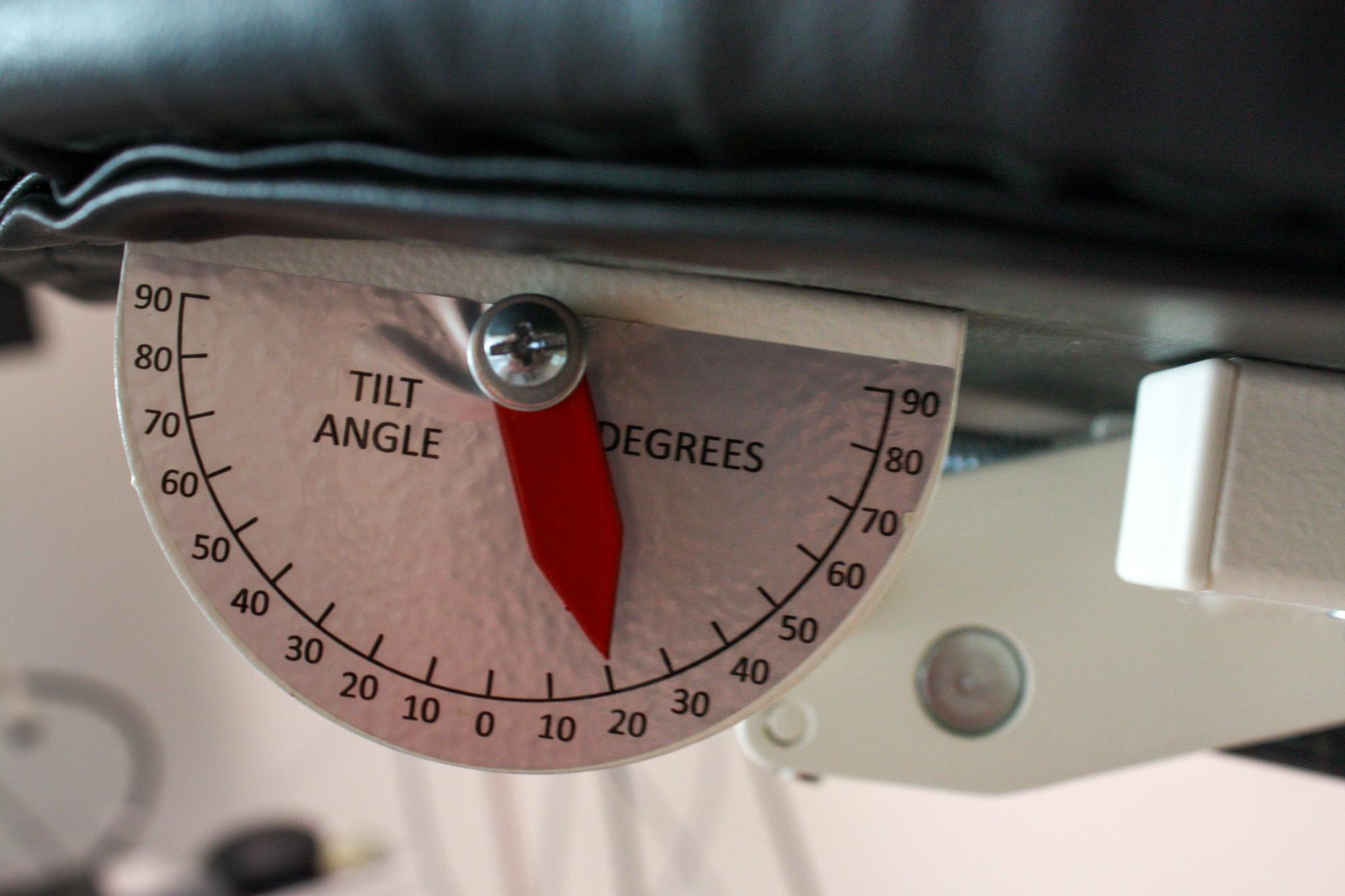 Tilt table degrees